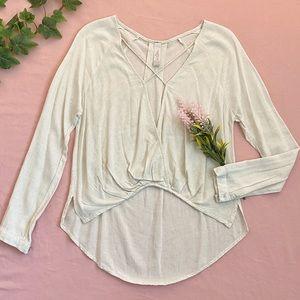 Mahina cross-draped rayon-linen long sleeve top, oatmeal